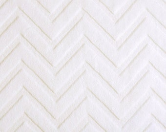 White Embossed Chevron Minky From Shannon Fabrics