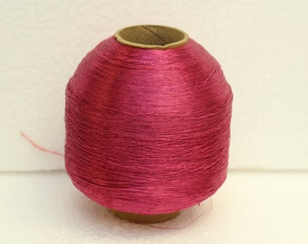 Large vintage spool Hot pink acetate fiber