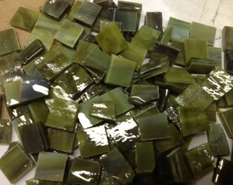 """Odd Size SEA GREEN FOREST Stained Glass Mosaic Tile Supply 3/8-1/2"""" O4"""