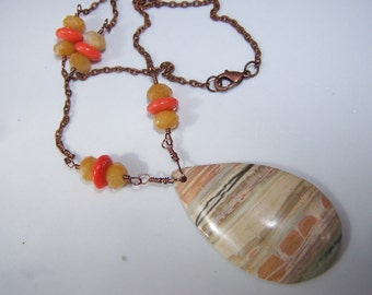Multi Color Picasso Jasper Necklace with Coral and Honey Quartz on Copper Chain
