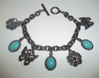 Fabulous Vintage Dangling Charm Bracelet With Turquoise Cabochons & Black Crystal Butterflies and Flowers