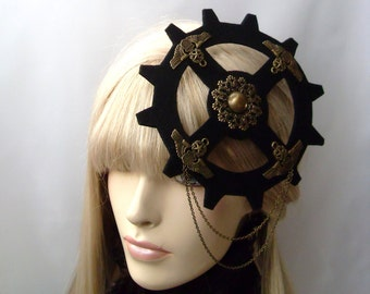 Steampunk  Headdress Victorian Watch Fascinator Time Traveller Dieselpunk Headpiece