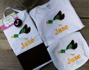 Personalized Gift Set- Personalized Burp Cloth, Bib, Bodysuit, and Pacifier Clip -Duck Applique-Custom Gift Set.