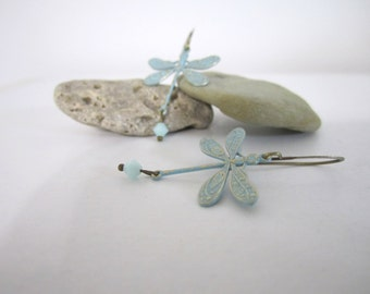 Dragonfly Earrings - Blue Patina