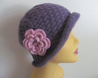 Crocheted Lavender Women Cloche Hat With Flower