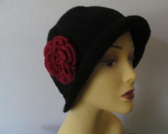 Woman Cloche Hat With Flower, crocheted women hat with flower