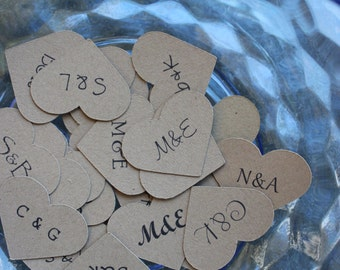 Custom Heart Confetti with Initials for Your Rustic Wedding Table or Boho Chic Stationery - You Choose the Font