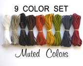 1mm Nylon Cord - Set of 9 Muted Colors -  Shamballa Bracelet Cording  - Blythe Pull String Cord - Nylon Beading Thread