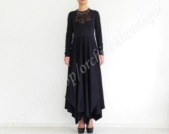 black dress / maxi dress with long sleeves Extravagant Long Party Dress  SALEM Made to order autumn dress Extravagant Long Dress Party Dress