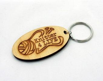 Knitter 4 Life Keychain, Laser Cut Wood, Keychain