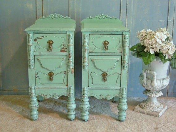 shabby chic wicker nightstands painted vintage by. Black Bedroom Furniture Sets. Home Design Ideas