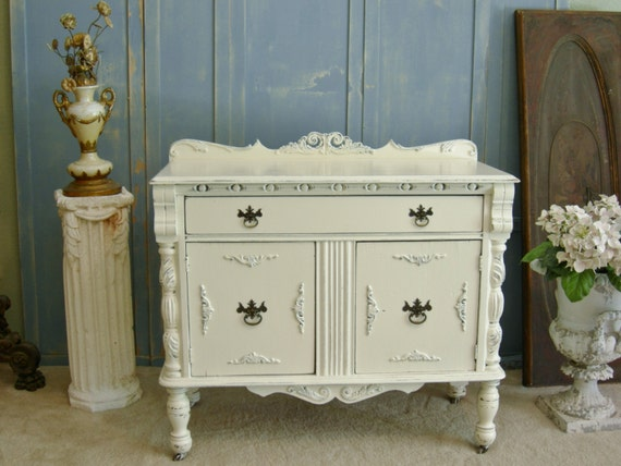 remarkable shabby chic white bedroom furniture   Items similar to WHITE PAINTED CHEST The Shabby Chic ...