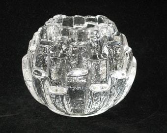 Kosta Boda Sweden IGLOO Crystal Votive Candle Holder - Edenfalk Signed Mint 1991