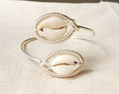 PISCES II - Double Cowrie Shell Wrapped Adjustable Bangle