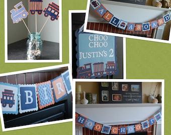Train Birthday Party Package, Choo Choo I'm 2 Happy Birthday Banner, Happy Birthday Banner, All Aboard Banner, Door Sign,