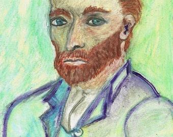 Vincent van Gogh Self Portrait  Van Gogh Painting watercolor pencil Painting  Art study