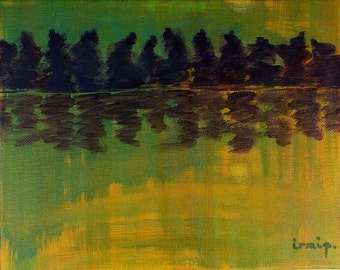 River Painting Sunset Painting River Reflections Abstract