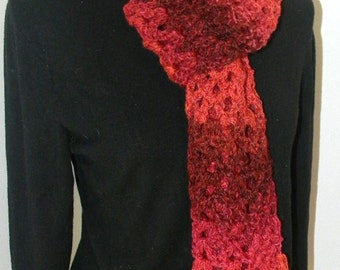 Handmade Crochet Scarf--Red Berry shades