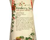 Metro Retro  Strawberry Jam with Grand Marnier Recipe Vintage Tea Towel HANDMADE Apron - Christmas, Birthday Gift Idea  - OOAK, upcycled.