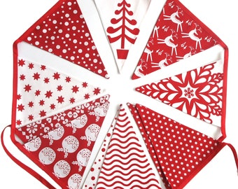 Christmas Bunting - Red TREE Nordic Scandi Style Flags  - Xmas hanging, Party Banner, Parties Decoration Pennant - Beautiful!