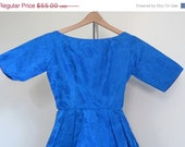 1950s Party Dress / Blue / Prom Dress / Mad Men / XS / Wedding / Full Skirt / Brocade / Nipped Waist / Hollywood Regency / Mid Century - TheThriftingMagpie