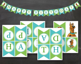 DIY Scooby Girl Boy Birthday Flag Banner Blue Green Printable