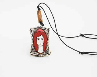 Red Girl Pendant Necklace Wood Necklace Vintage Inspired Necklace