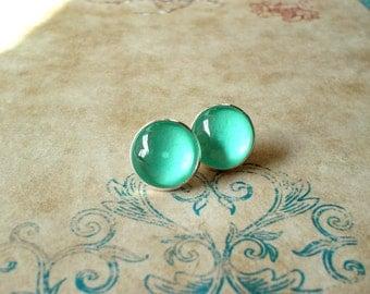 20% OFF -- Mint color earring stud, Blue earring,cute gift,Glass earring stud