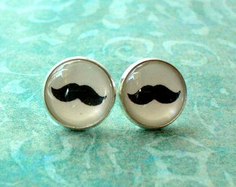 20% OFF - Mustache Black  and white Cabochon Stud earrings ,Cute Gift Idea ,Man Dad