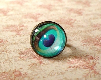 20% OFF - Light Teal Blue Peacock Eye feather  ring ,Sweet and cute gift for her