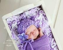 Newborn Bonnet - Simple Elegance Line - VIOLET - hand knit baby bonnet - photo prop - knitbysarah - Stitches by Sarah