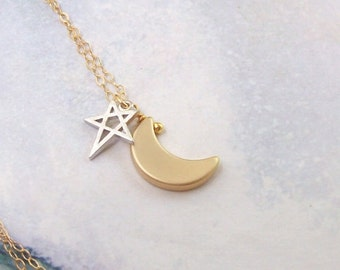 Gold Moon and Star Necklace, Crescent Moon Necklace, 14K gold filled, 14k gf, silver star, gold moon, rhodium, simple, minimal, astrology