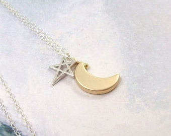 Moon and Star Necklace, Silver Crescent Moon Necklace, sterling silver, rhodium, silver star, gold moon, minimal, simple, matte, astrology