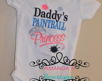 Daddy's Paintball Princess, Custom Embroidered, Shirt, Girl Shirt, Princess Shirt, Paintball Shirt, Daddy's Princess Shirt, Father's Day