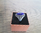 Vintage Silver and Lapiz Ring made in Cordoba Southern Spain