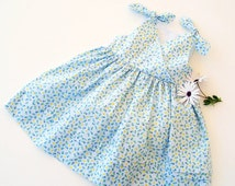 PETITE FILLE Style Girl Dress sewing pattern Pdf, Knotted Straps Sundress, toddler dress, size 3 4 5 6 7 8 9 10 yrs Instant Download