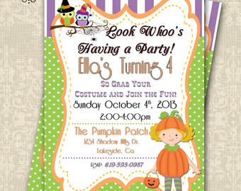 Whimsical Halloween Birthday Invitation Pumpkin Patch Pumpkin Invitation Customizable 5x7 lil pumpkin baby shower