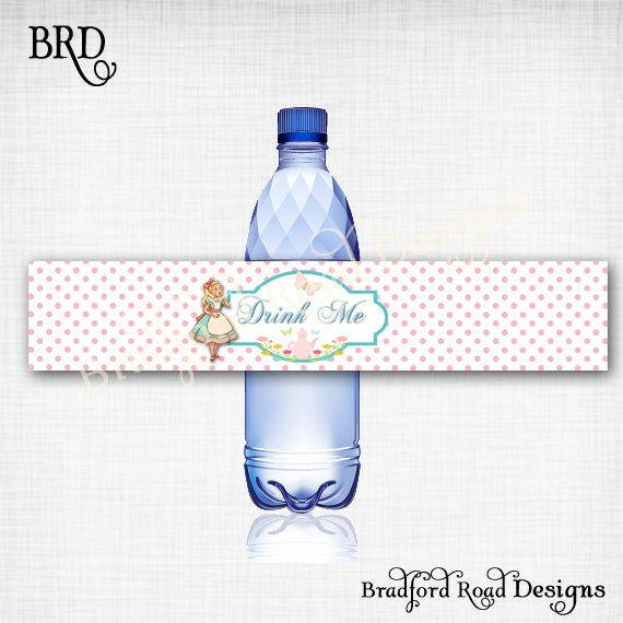 Alice In Wonderland Water: Alice In Wonderland One-derland Water Bottle Labels