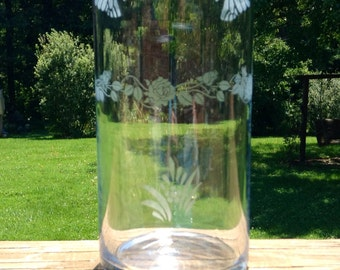 Home Decor Glass Cylinder Vase with Etched Variety of Designs