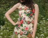 Floral Dress / Simple Casual Style Handmade Dress with Round Neckline fit for S sized Women