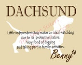 Dachsund Print Dog Choose Breed Personalize Silhouette 8 x 10 Print Wall Art customize pet FREE SHIPPING