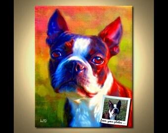 Boston Terrier Custom Portrait - Boston Terrier Painting example