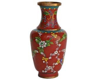 Vintage Large Red Cloisonne Vase
