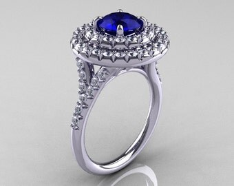 Classic Soleste 14K White Gold 1.0 Ct Blue Sapphire Diamond Ring R236-14KWGDBS