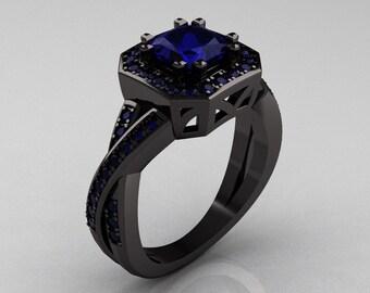 American Classic 14K Black Gold 1.23 CT Princess Blue Sapphire Engagement Ring R189P-14KBGBS
