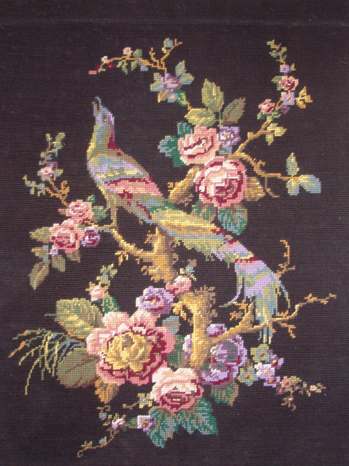 Vintage French Needlepoint Tapestry Canvas Embroidery Bird