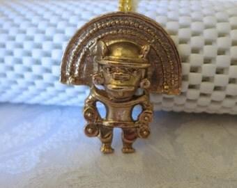 Pendant,Necklace,Inca God,24K Plated,Southwestern,NOW ON SALE
