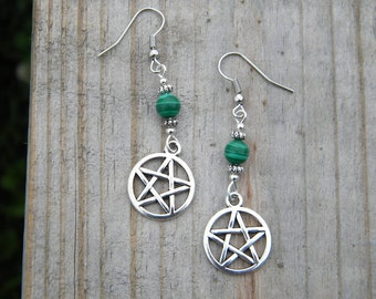 Pentacle Earrings with Malachite