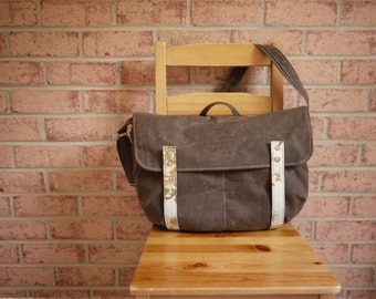 Laptop Messenger Bag in Olive Brown Waxed Canvas - Vegan Cross Body Satchel/ Back to School