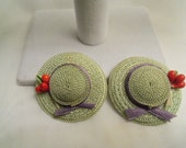 Sale- Unique One of a Kind Adorable Vintage NEVER WORN Wide Brimmed Straw Hat & Ribbon EARRINGS- Birthday Gift Her Mother. Women's Jewelry